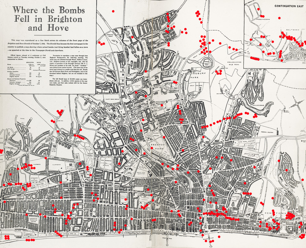 Permalink to:Bomb map of Brighton, 1944